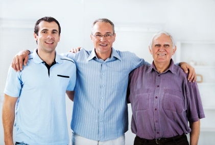 Portrait of three generations male