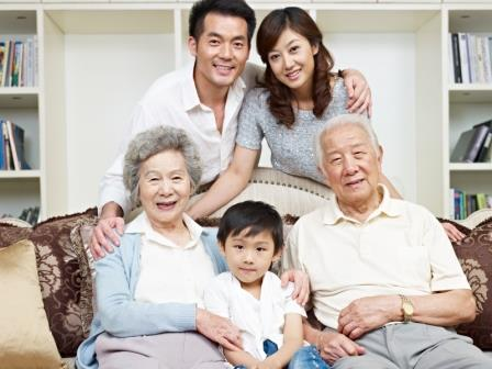 Asian family group